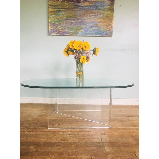 Mid-Century Modern Lucite/Acrylic Base Coffee Table With Beveled Edge Glass Top For Sale - Image 3 of 5