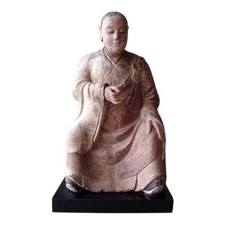 Antique Chinese Wood Carving of a Seated Life Size Figure For Sale