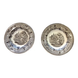 19th Century English Traditional Staffordshire Soup Plates - a Pair