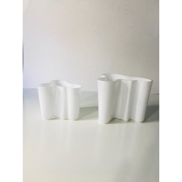 Glass Vintage Alvar Aalto Savoy Vase White - a Pair For Sale - Image 7 of 8