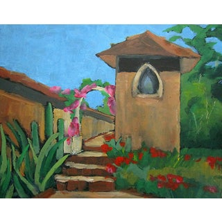 Impressionist Oil Painting of Wine Country Valle De Guadalupe Adobe Landscape For Sale