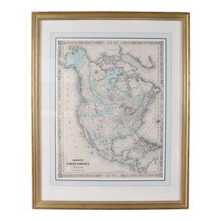 Gilt Wood Framed & Matted Map For Sale