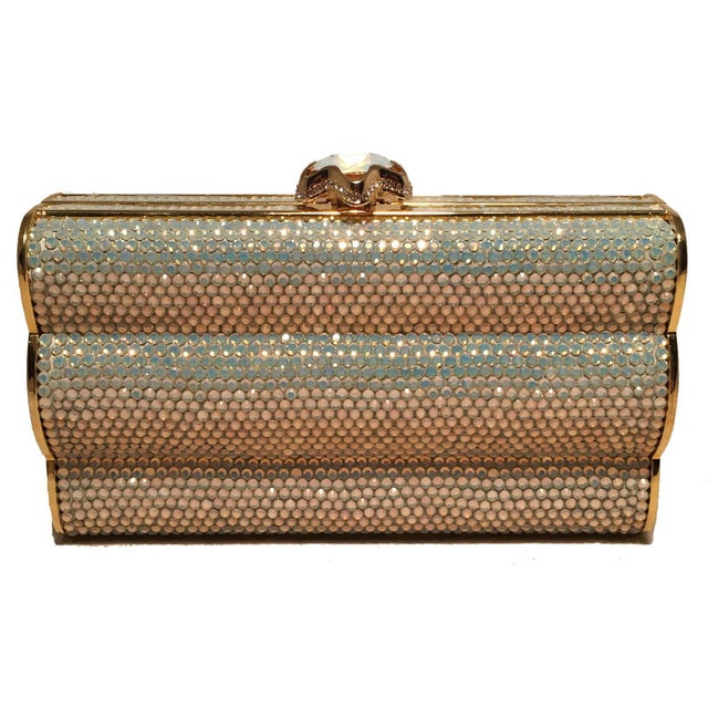 00485de0a66b Modern Judith Leiber Iridescent Swarovski Crystal Gold Minaudiere Evening  Bag Clutch For Sale - Image 3