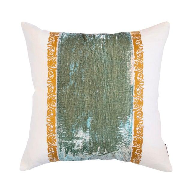 Francesca White Linen & Sea Foam Green Velvet Accent Pillow For Sale