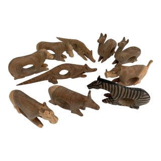Safari Hand Carved Wooden Napkin Rings - Set of 10 For Sale