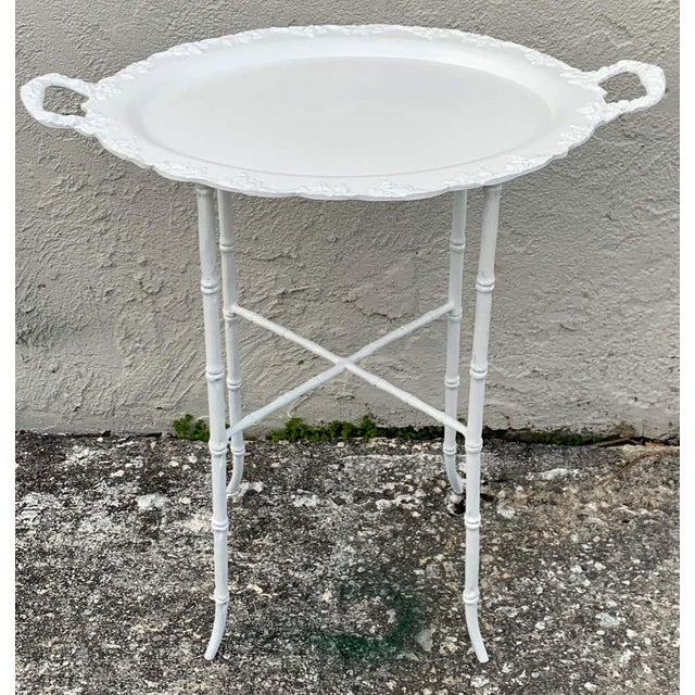 Faux Bamboo and Grape Motif White Enameled Tray Table, Provenance Celine Dion - a Pair For Sale - Image 9 of 10