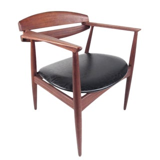Mid-Century Modern Sculpted Teak Side Chair For Sale