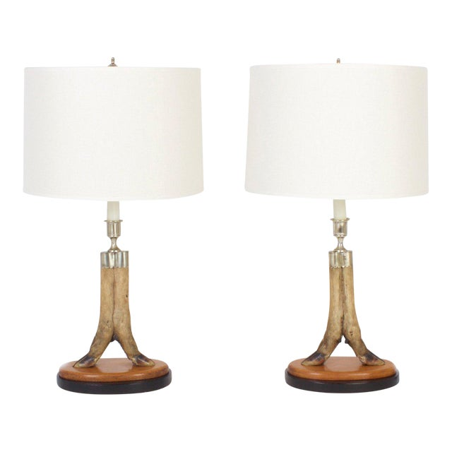 Vintage Deer Hoof Table Lamps - A Pair For Sale