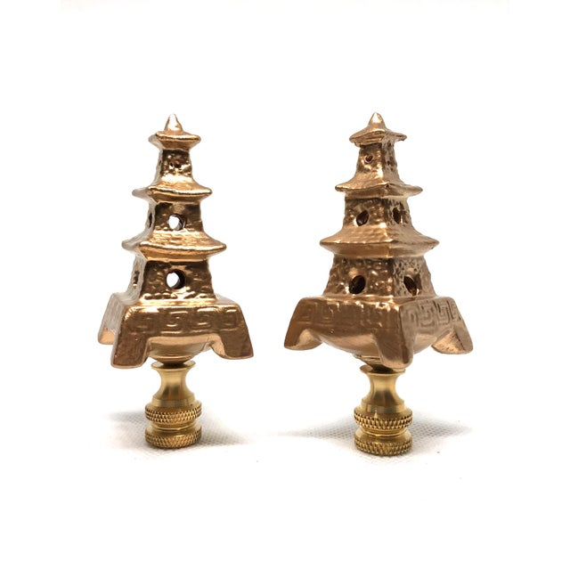Asian Chinoiserie Gold Porcelain Pagoda Lamp Finials - a Pair For Sale - Image 3 of 3