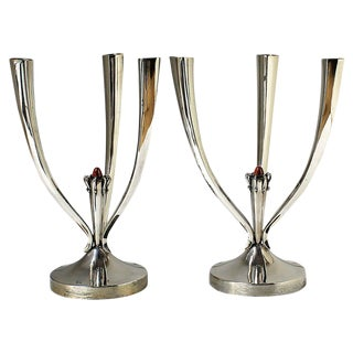1950s Pair of Three Branches Silver Candelabras, Enameled Cabochon, Spain For Sale