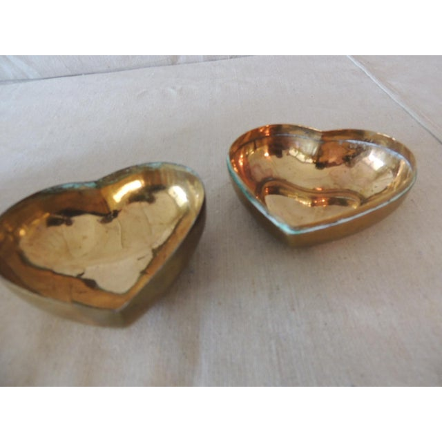 Boho Chic Vintage Gold Jewelry Box in the Shape of a Heart For Sale - Image 3 of 6