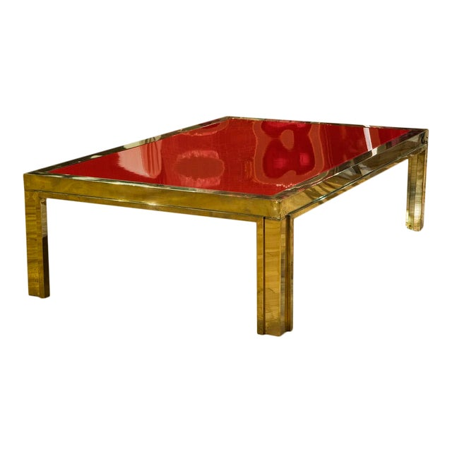 Italian Brass and Red Lacquered Low Table For Sale