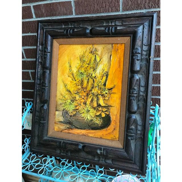 Modern 1930s Vintage Ann Rugh Backer 'Golden Floral' Original Oil Painting For Sale - Image 3 of 4