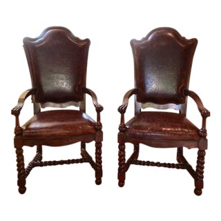 Maitland-Smith Hand Carved Dining Chairs - a Pair
