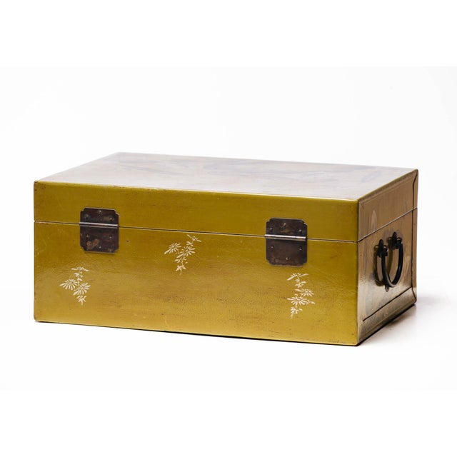 Chartreuse Hand-Painted Lotus Scene Chartreuse Leather Box on Patinated Brass Stand as Side Table by Lawrence & Scott For Sale - Image 8 of 13