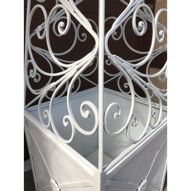 White Pair of French Art Deco Neoclassical Wrought Iron Obelisk Planters For Sale - Image 8 of 12