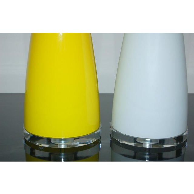 Brass Vintage Murano Glass Table Lamps Yellow White For Sale - Image 7 of 7