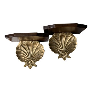 Vintage Hollywood Regency Brass and Wood Shelves - a Pair For Sale