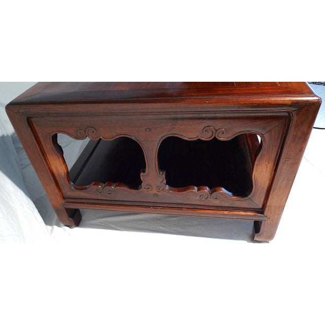 Early 20th Century Chinese Carved Rosewood Long Low Opium Coffee Table For Sale - Image 4 of 13