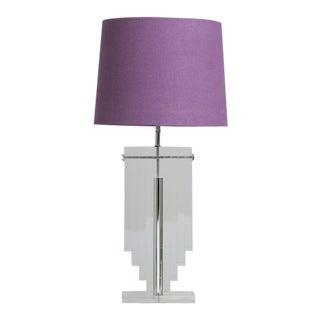 Large Karl Springer Attributed Stacked Lucite Table Lamp, 1980s For Sale