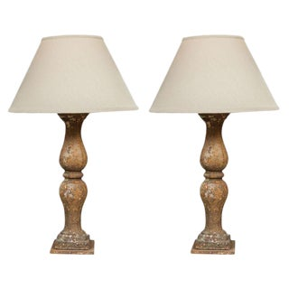 Antique designer french provincial table lamps decaso pair of cast iron balustrades french 1800 mounted as lamps with custom shades aloadofball Image collections