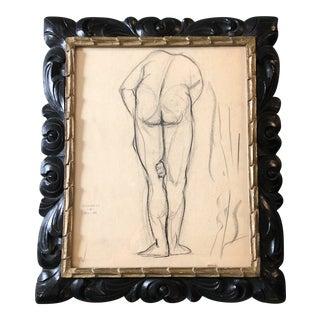 Original Art Deco Original Nude Charcoal Study Drawing 1948 Signed Ornate Vintage Frame For Sale