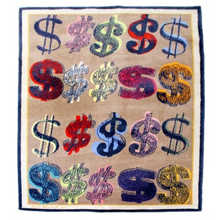 """Contemporary Modern Andy Warhol """"Dollar Signs"""" Signed Area Rug Dated 1981 - 5′11″ × 9′2″ For Sale"""