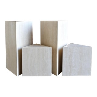 1980s Italian Travertine Pedestals - Set of 4 For Sale