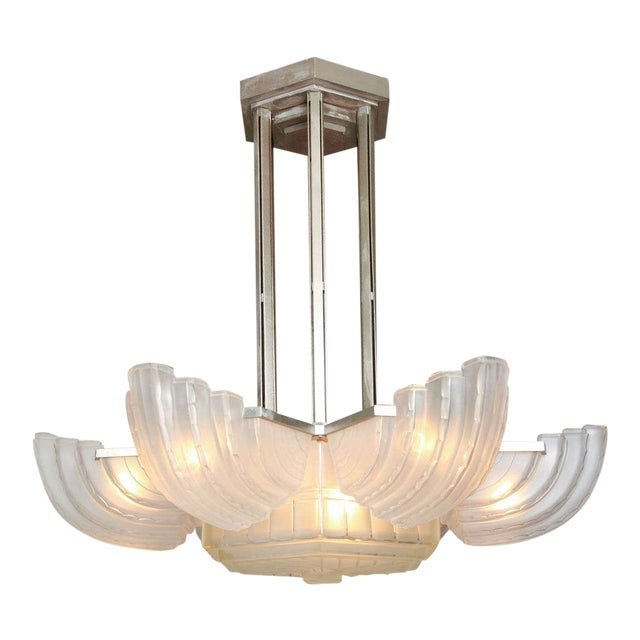 Large and Important Art Deco Chandelier by Sabino For Sale