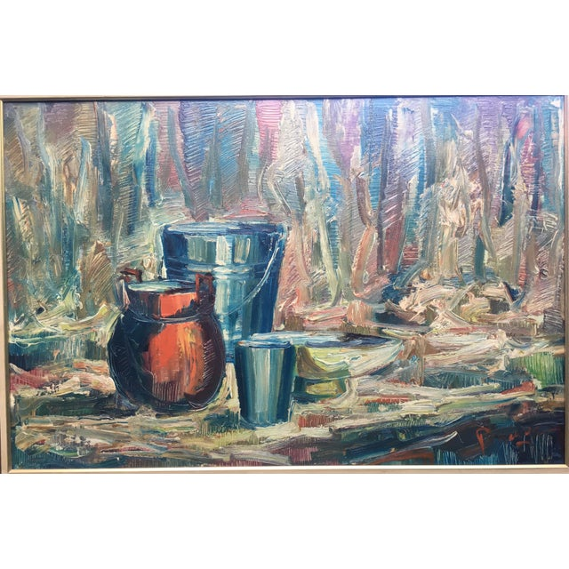 Abstract Expressionism Still Life Palette Knife Oil Signed, Maassen For Sale - Image 3 of 10