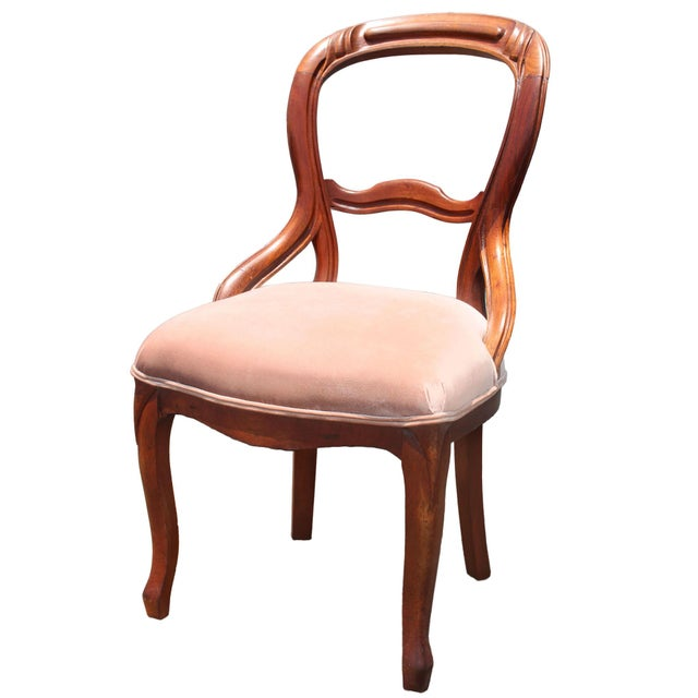Queen Anne Solid Mahogany Balloon Back Queen Anne Chair Newly Upholstered in Palest Pink Velvet For Sale - Image 3 of 5