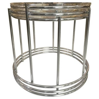 Round Polished Chrome Nesting Tables - Set of 3 Preview