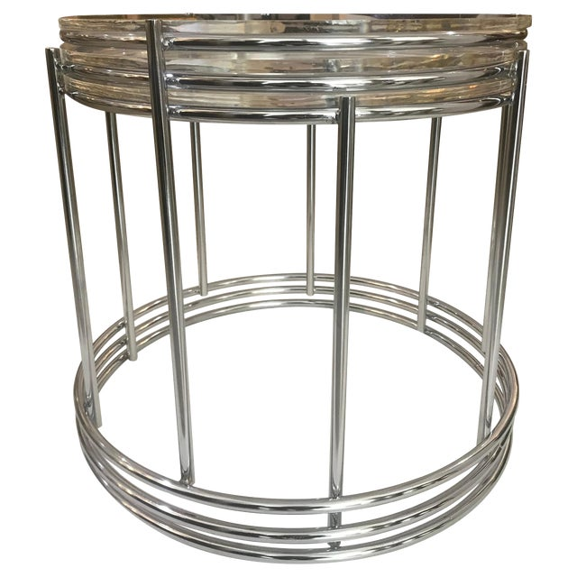This set of three polished chrome and Lucite nesting tables are very inspired by the style of Saporiti, Italia and date to...