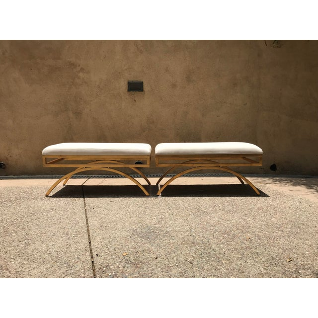 Gold Brass/Gold Benches With Upholstered Top - A Pair For Sale - Image 8 of 10
