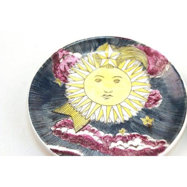 "Ceramic 1960s Fornasetti ""Soli E Lune"" Porcelain Coasters With Original Box - Set of 6 For Sale - Image 7 of 10"