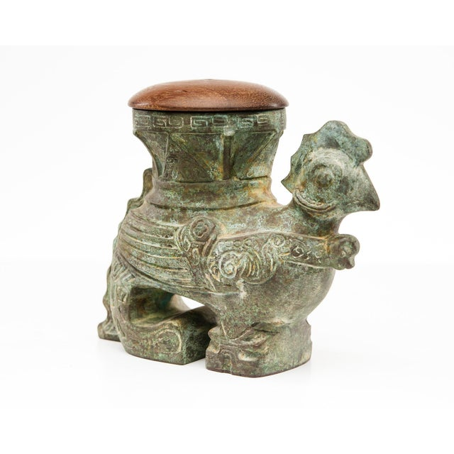 Asian Style Lawrence & Scott Patinated Rooster Box Vase For Sale - Image 4 of 8