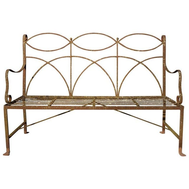 Early 20th Century Neoclassical Wrought Iron Garden Bench For Sale - Image 10 of 10