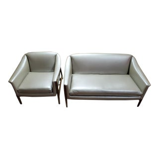 Danish Modern Dux Folke Ohlsson Sofa and Side Chair Set Newly Upholstered - 2 Piece Set For Sale