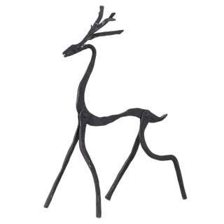 Jean Touret Iron Deer Sculpture for Atelier Marolles, France, 1950s For Sale