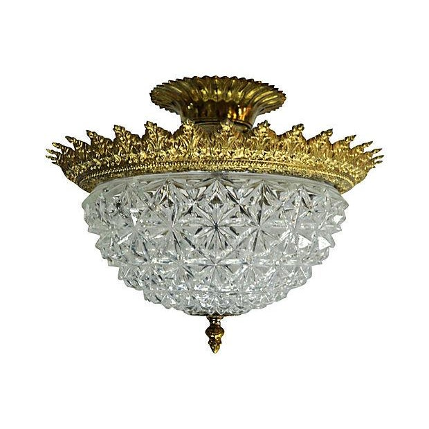 Ceiling Flush Crystal Dome Lamp - Image 1 of 4