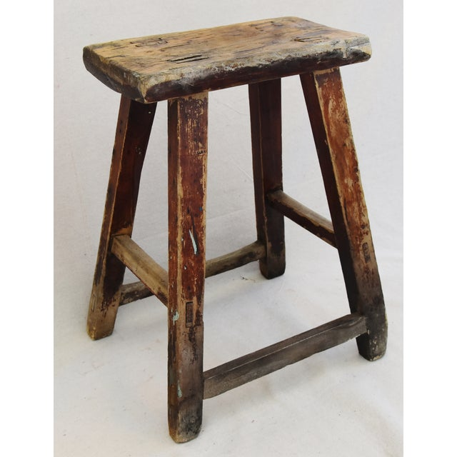 Rustic Primitive Country Wood Farmhouse Stool - Image 2 of 11