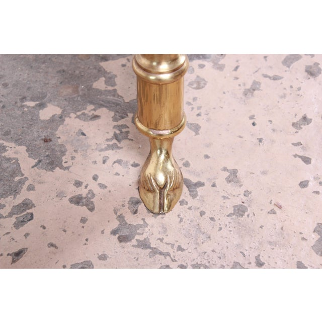 Metal Labarge Mid-Century Hollywood Regency Brass and Glass Hooved Feet Coffee Table For Sale - Image 7 of 9