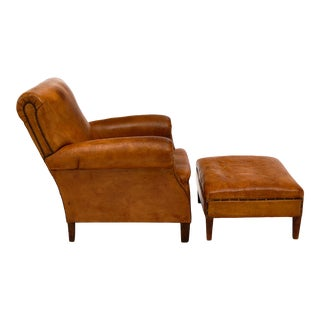 Vintage Leather Club Chair With Ottoman - a Pair For Sale