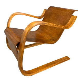 Scandinavian Finnish Cantilevered Lounge Armchair by Alvar Aalto For Sale