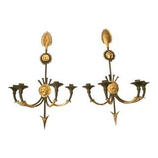 Early 20th Century Antique French Directoire Style 4-Lite Sconces - A Pair For Sale