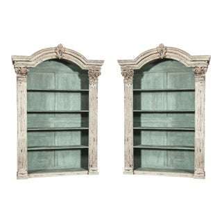 Louis XIV French Carved Painted Bookcases with Antique Elements - A Pair For Sale