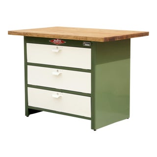 1960s Cabinet by Nuarc Graphic Arts Equipment With Reclaimed Wood Top, Refinished For Sale
