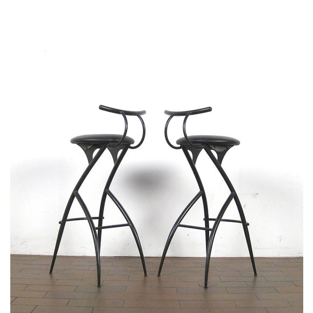 Mid-Century Modern Postmodern Italian Bar Stools- Set of 5 For Sale - Image 3 of 10