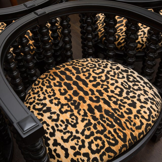 Spindle Back Barrel Faux Leopard Chairs - Pair - Image 6 of 8