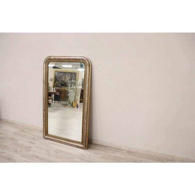 19th Century Italian Golden and Silver Wood Antique Wall Mirror For Sale - Image 4 of 13